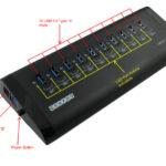 10-Port Aluminum USB 3.0 Self Powered Hub Labeled