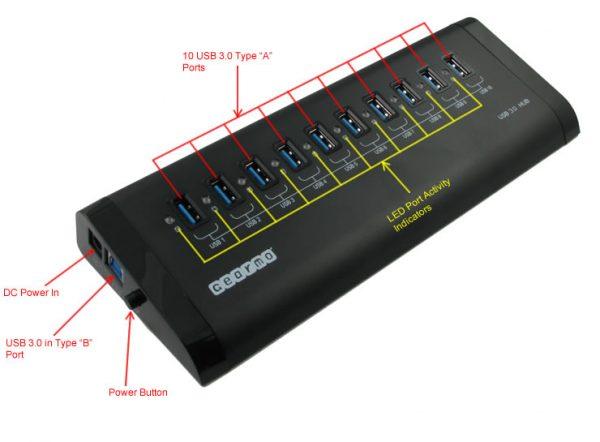 10-Port Aluminum USB 3.0 Self Powered Hub