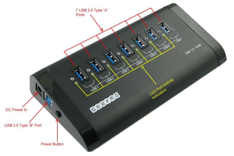 USB 3.0 7-Port Hub Labeled Ports