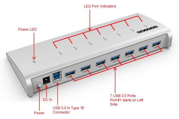USB 3.0 7-Port Aluminum Hub