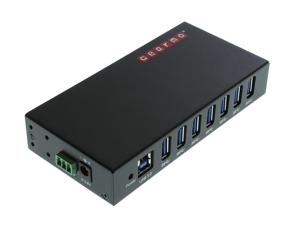 7-Port USB 3.0 Din Rail Mountable Hub Metal Chassis