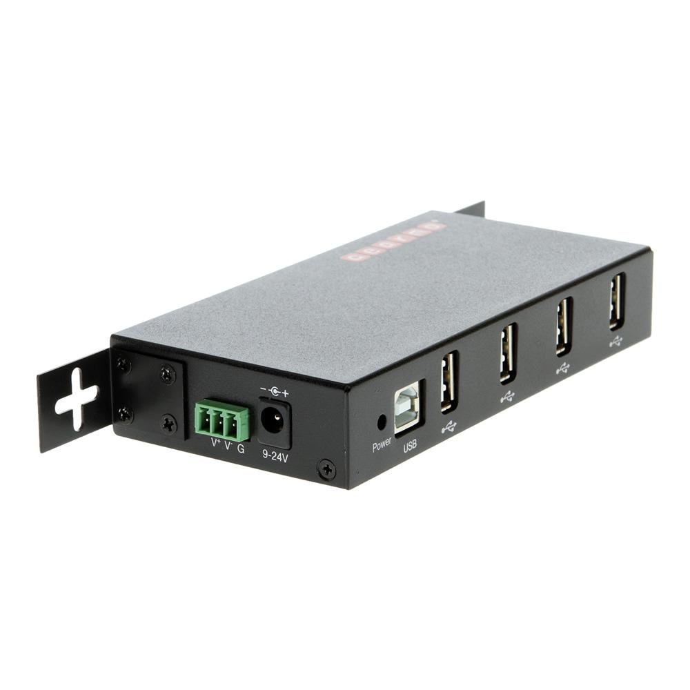 4 Port Usb 2 0 Rugged Metal Din Rail Mount Hub W Power Adapter