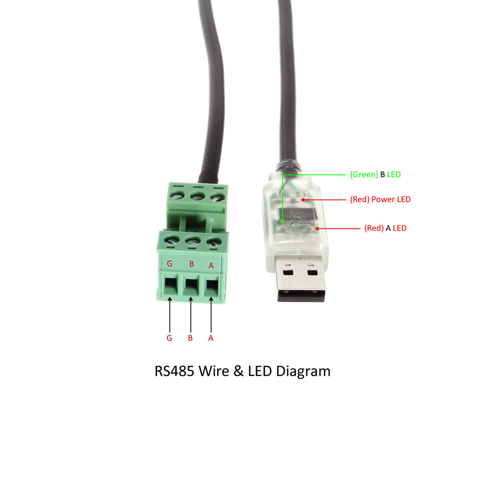 RS485 wire and LED Diagram