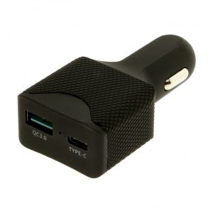 Black USB-C power delivery car charger