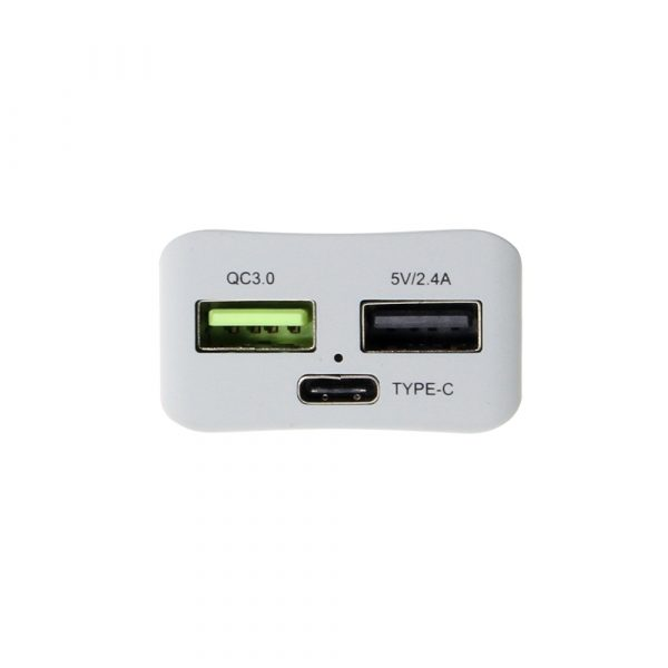 QC3.0 port, USB-A 2.4A port, and USB type-C port