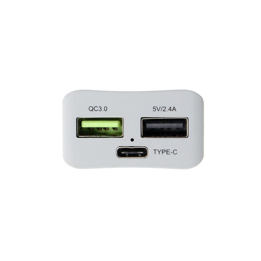 QC3.0 port, USB-A 2.4A port, and USB type-C port