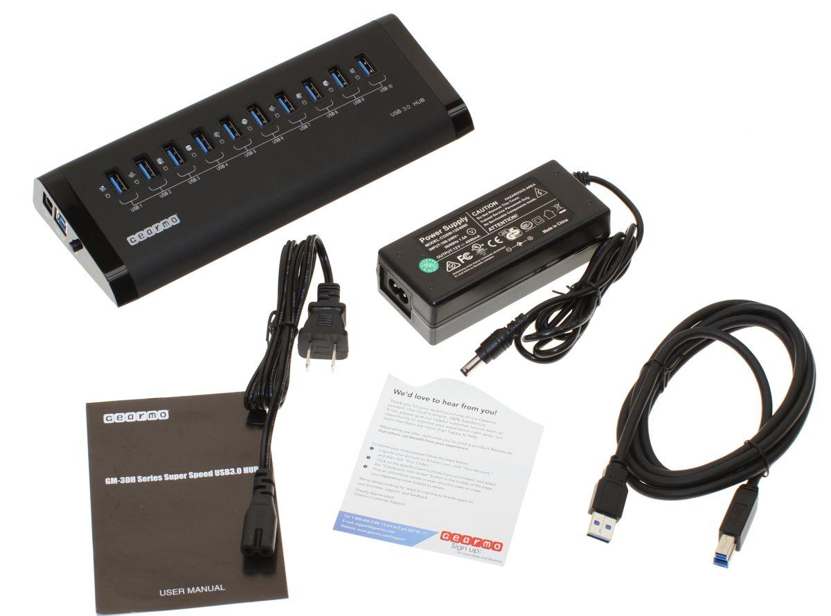 10 Port USB3.0 Aluminum Desktop Hub with LED Activity - package contents image